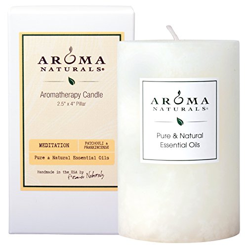 Aroma Naturals Patchouli and Frankincense Essential Oil Pillar Candle