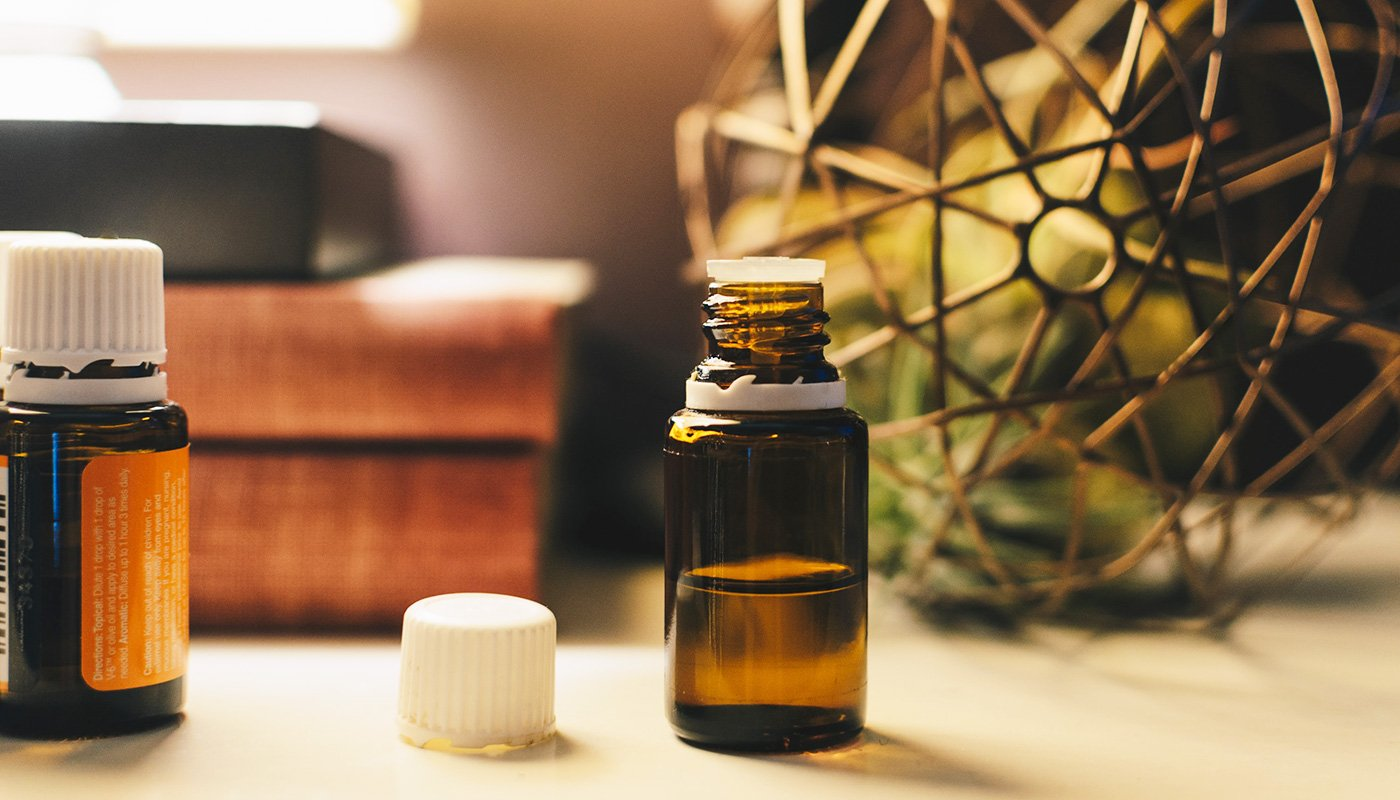 Two essential oil bottles