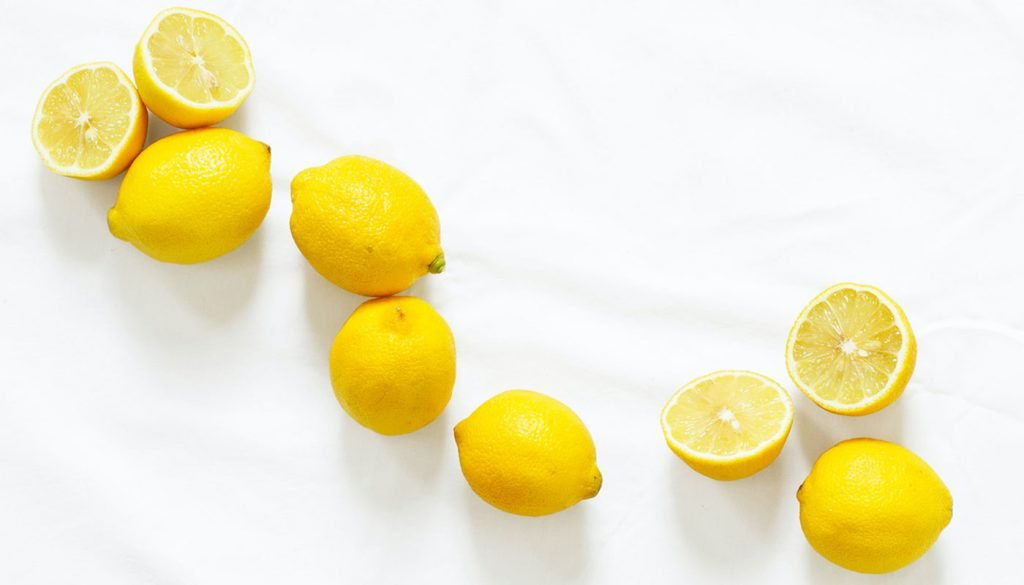 Whole and half lemons to clean the kitchen